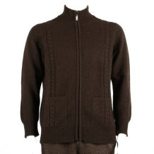 Men dark brown yak wool cardigan