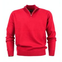 Men's red cashmere neck zipper sweater