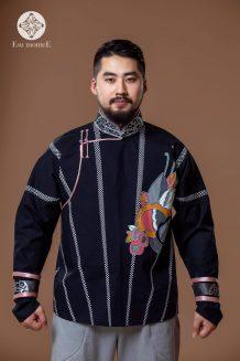 Men's Black Deel Shirt with Pattern