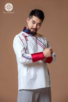 Men's White Deel Shirt with Pattern