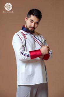 Men's White Deel Shirt with Pattern