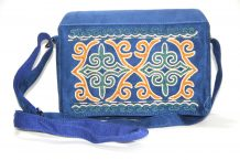 Blue Kazakh Embroided Small Bag