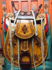 Brown Cowhide Saddle