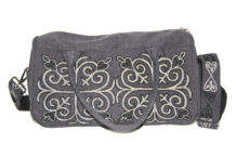 Gray Bag with Kazakh Embroidery