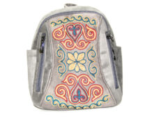 Gray Kazakh Embroided Backpack