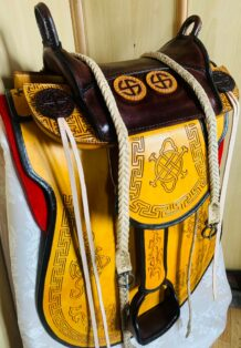 Yellow Cowhide Saddle