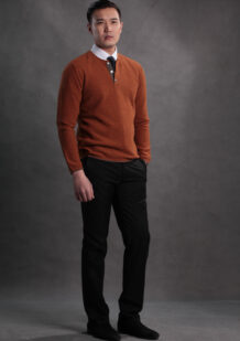 Men's Orange Merino Wool Shirt