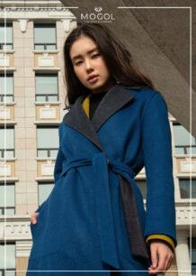 Women's 100% Sheep Wool Blue Coat