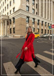 Women's 100% Sheep Wool Red Coat
